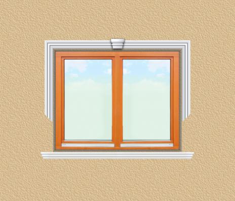 ED02 ablak díszítése egyféle polisztirol díszléccel