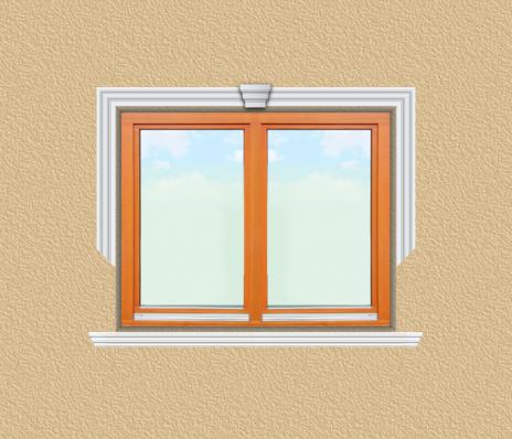 ED08 ablak díszítése egyféle polisztirol díszléccel