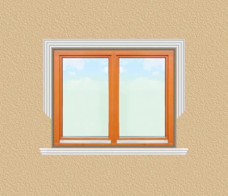 ED14 ablak díszítése egyféle polisztirol díszléccel