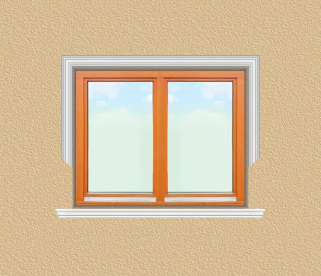 ED22 ablak díszítése egyféle polisztirol díszléccel