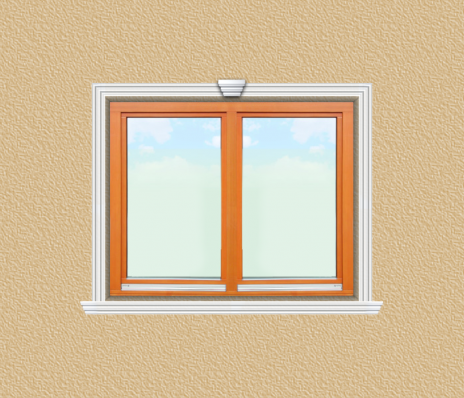 ED25 ablak díszítése egyféle polisztirol díszléccel