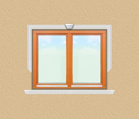 ED26 ablak díszítése egyféle polisztirol díszléccel