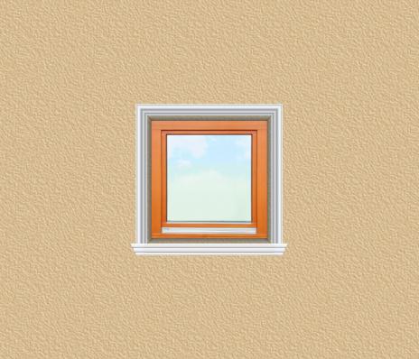 ED27 ablak díszítése egyféle polisztirol díszléccel