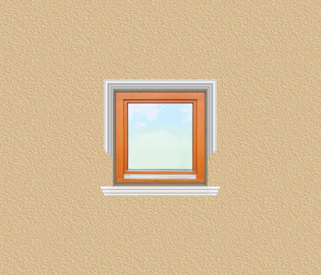 ED28 ablak díszítése egyféle polisztirol díszléccel