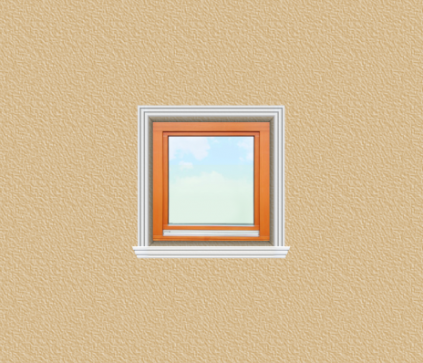 ED29 ablak díszítése egyféle polisztirol díszléccel