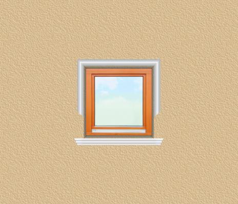 ED32 ablak díszítése egyféle polisztirol díszléccel