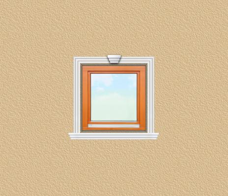 ED33 ablak díszítése egyféle polisztirol díszléccel