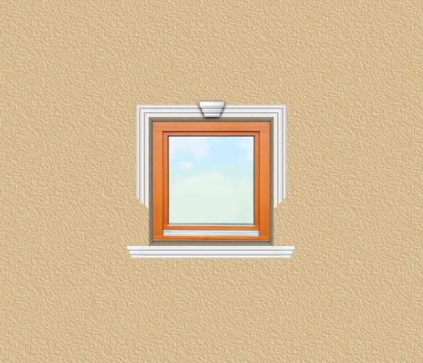 ED34 ablak díszítése egyféle polisztirol díszléccel