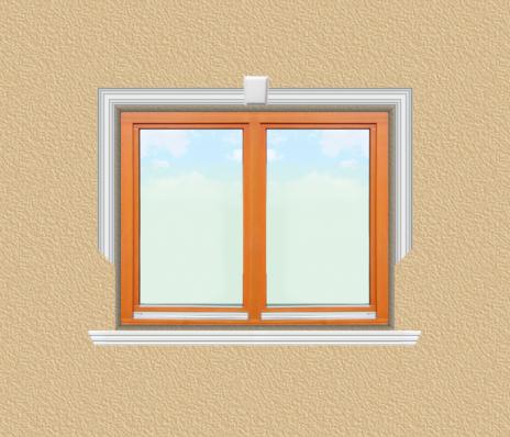 ED24 ablak díszítése egyféle polisztirol díszléccel